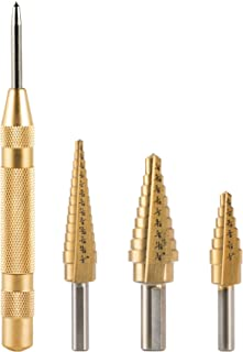 CO-Z 3PCS Titanium Step Drill Bit with Automatic Center Punch, High Speed Steel 3-Piece Drill Bits Set for Sheet Metal Aluminium, 28 Sizes of Multiple Hole Stepped Up Bits