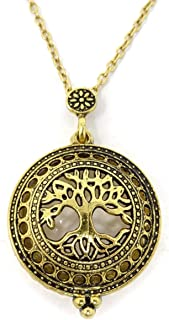 Honbay Retro Tree of Life 5X Magnifier Magnifying Glass Sliding Top Magnet Pendant Necklace, Gold Tone