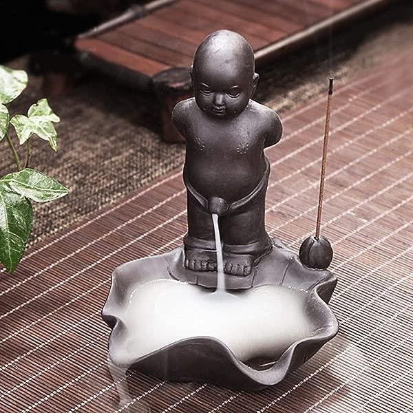 Panpob68 新款倒流香炉陶瓷佛教和尚小便烟香炉锥形托棕色
