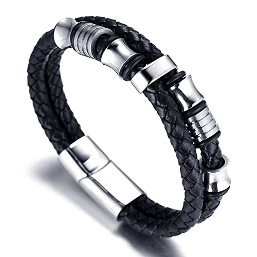 """Halukakah ● Solo ● Men's Genuine Leather Bracelet with Titanium Beads Silver Titanium Clasp with Magnets 8.46""""(21.5cm) with FREE Giftbox"""