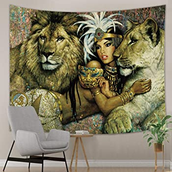 Couple Giraffes Forest Landscape Tapestry Wall Hanging Living Room Bedroom Dorm