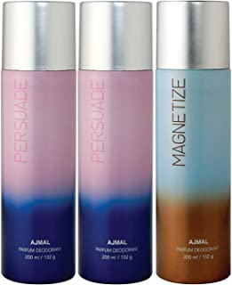 Ajmal 2 Persuade & Magnetize Deodorant Combo Pack of 3 Deodorants 200ml each (Total 600ML) for Men & Women + 4 Parfum Testers