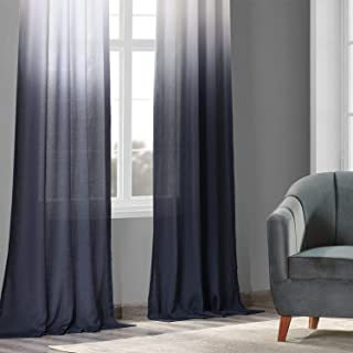 HPD Half Price Drapes FELCH-OMB1707-96 Faux Linen Sheer Curtain (1 Panel), 50 X 96, Ombre Blue