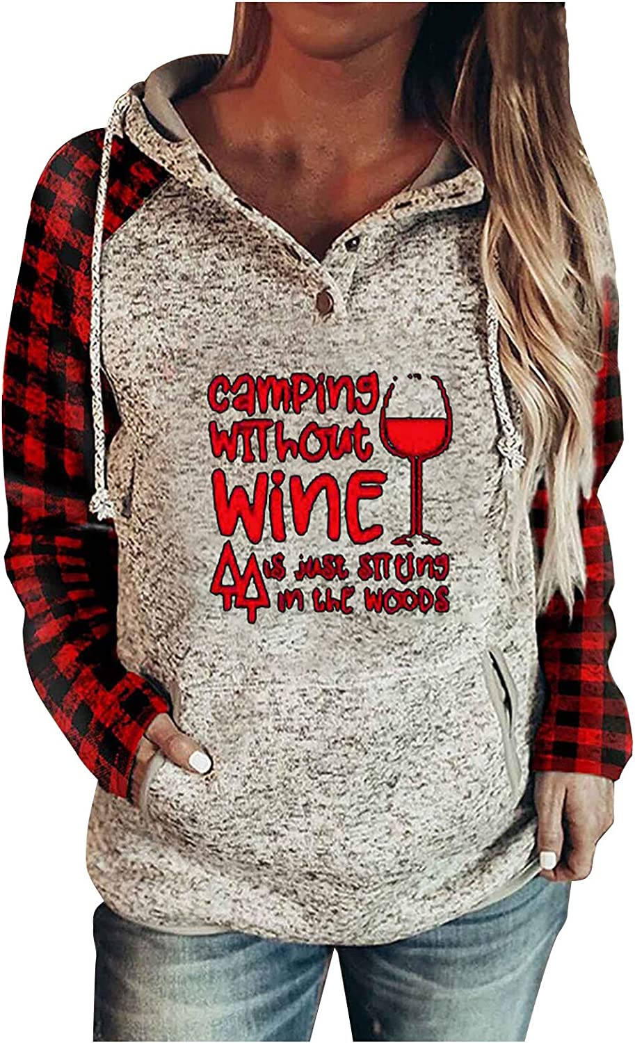 SALIFUN Sweatshirt Hoodies for Women Christmas Snowman Graphic Buttons Hooded Pullover Pocket Drawstring Casual Tops