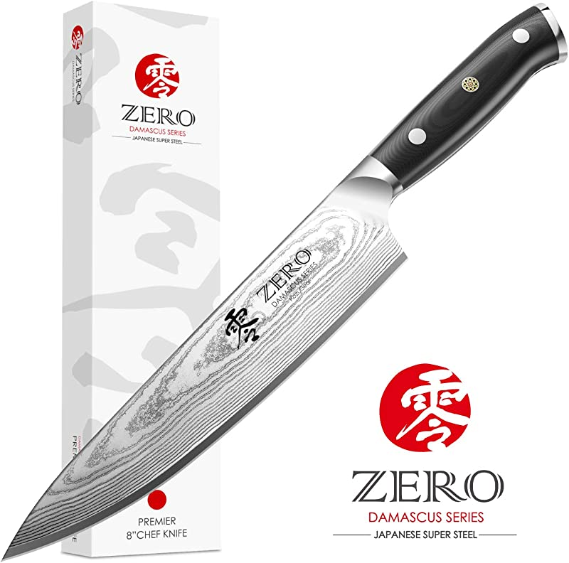 KozyGear 8 Inch VG 10 Chef Knife And Ergonomic Handle 100 Ultra Premium Japanese Damascus Steel M800