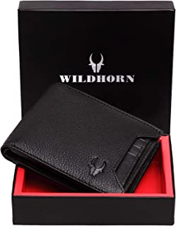 WildHorn® RFID Protected Genuine Leather Wallet for Men(Black)