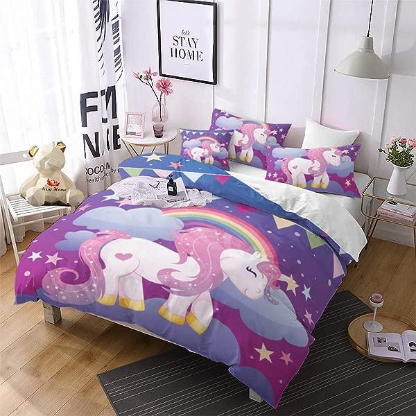 Jessy Home Unicorn Bedding Queen For Girls Cartoon 3D Duvet Cover Set 3 Pieces Purple 2 Pillowcase