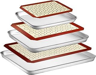 Wildone Lot de 6 plaques de cuisson avec tapis en silicone (3 feuilles + 3 tapis), plaque de cuisson en acier inoxydable a...