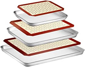 Wildone Baking Sheet with Silicone Mat Set, Set of 6 (3 Sheets + 3 Mats), Stainless Steel Cookie Sheet Baking Pan with Sil...