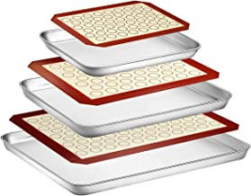 Wildone Baking Sheet with Silicone Mat Set, Set of 6 (3 Sheets + 3 Mats), Stainless Steel Cookie Sheet Baking Pan with Silicone Mat, Non Toxic & Heavy Duty & Easy Clean