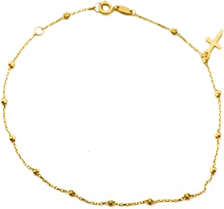 10K Yellow Gold .50mm Diamond Cut Rolo Chain with a Cross Charm & Beads Anklet Adjustable 9