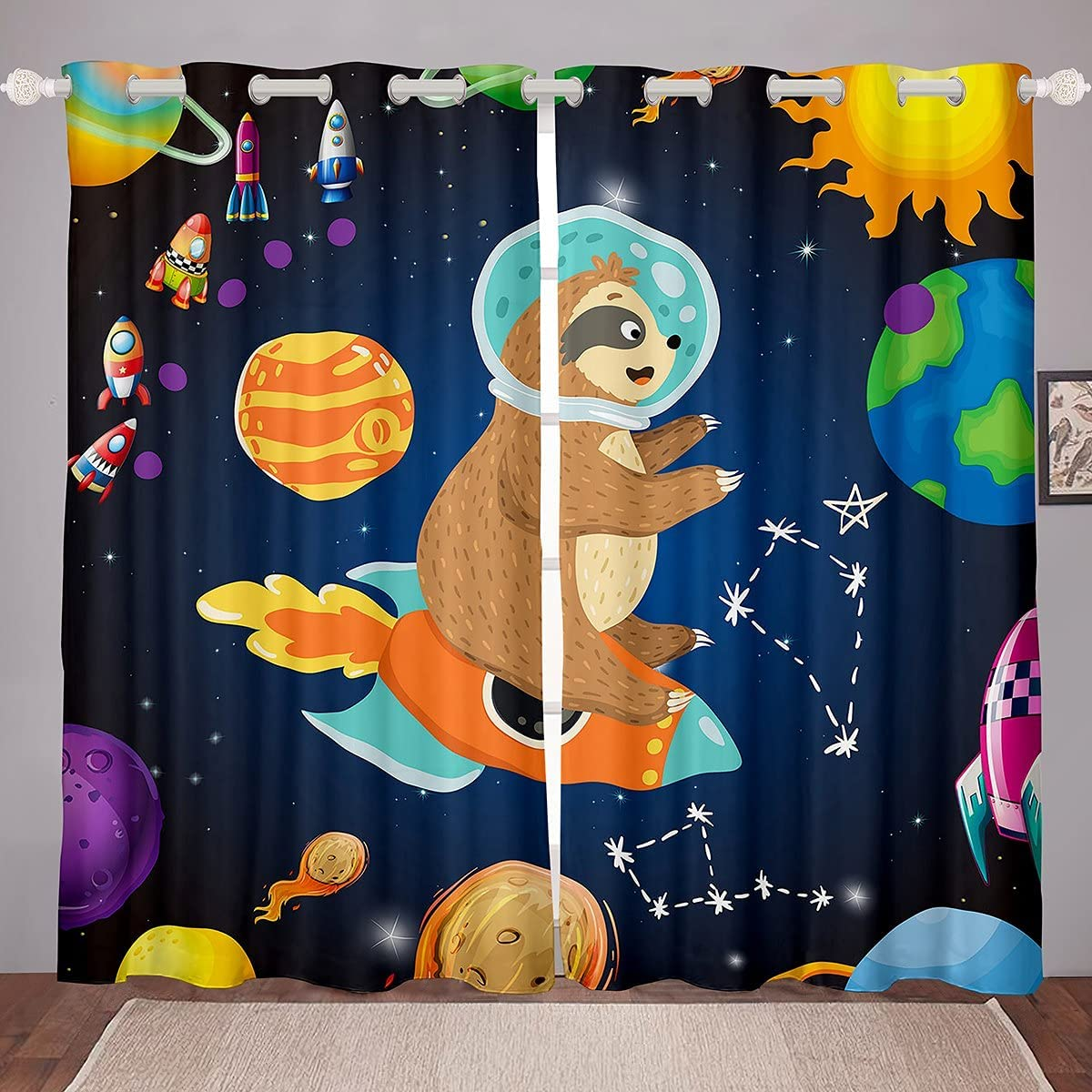 Space Rocket Curtains Sale price Sloth Astronaut Boy Drapes Kids 2021 new Window for