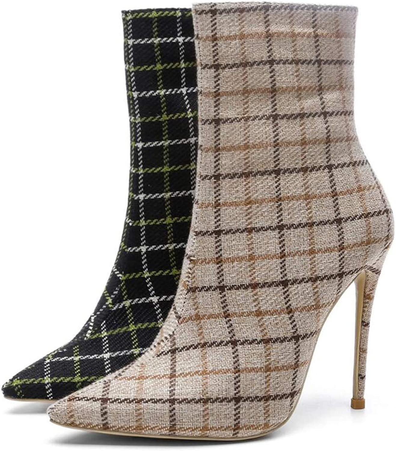 Women's Boots Autumn Plaid Ankle Boots Sexy Pointed Super High Heel Stiletto Large Size Women's Boots Martin Boots