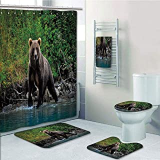 Bathroom Fashion 5 Piece Set shower curtain 3d print,Cabin Decor,Grizzly Brown Bear in Lake Alaska Untouched Forest Jungle Wildlife Image Decorative,Green Brown Blue,Bath Mat,Bathroom Carpet Rug,Non-S