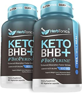 High Strength Keto Bhb Diet Pills with Bioperine for Enhanced Absorption (2 Pack) Vegan Capsules Keto bhb Supplement for W...