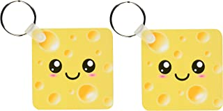 3dRose Cute Kawaii Happy Yellow Swiss Cheese with holes a smiley face and rosy cheeks - Key Chains, 2.25 x 2.25 inches, set of 2 (kc_58324_1)