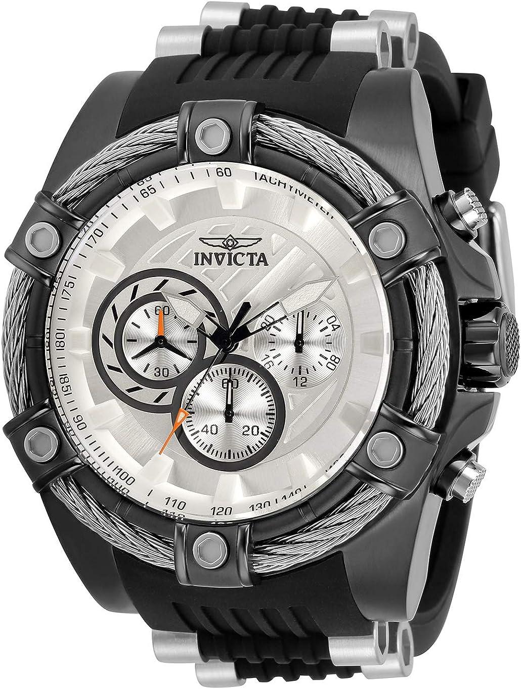 記念日 Invicta Men's Bolt デポー Japanese Quartz Silicone Stainles Watch with