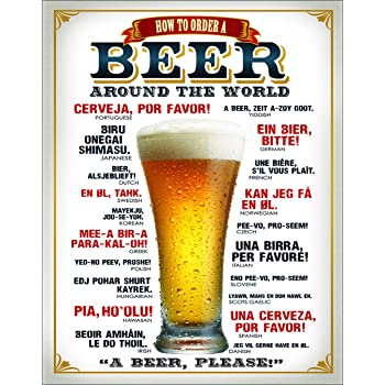 """Desperate Enterprises How to Order A Beer Tin Sign, 12.5"""" W x 16"""" H"""