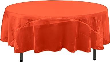 LA Linen Sheer Mirror Organza Round Tablecloth 90-Inch, Red