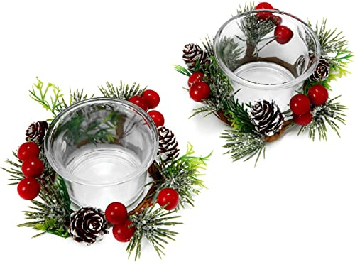 OYATON Christmas Votive Candle Holders with Snowy Pinecone Berry Candle Ring, Decorative Glass Tealight Candle Holder...