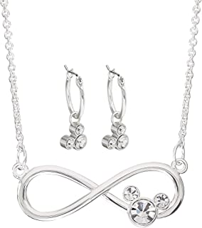 Disney Mickey Mouse Silver Plated Infinity Necklace and Hoop Earring Set, Mickey's 90th Birthday Anniversary; Jewelry ...