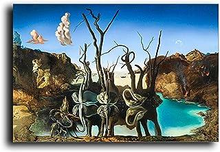 Yooyu Abstrait Salvador Dali cygnes reflétant Les éléphants Toile Peinture Affiches et Impressions Mur Art Photo décoratio...