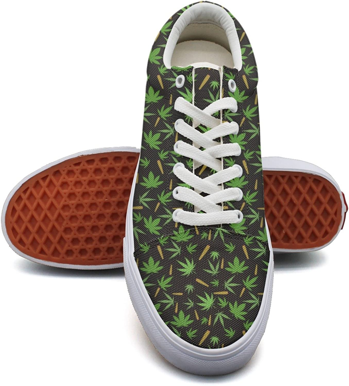 Milr Gile Pot Leaves and Cigar Print Sneaker Flat Canvas shoes for Womens Stylish