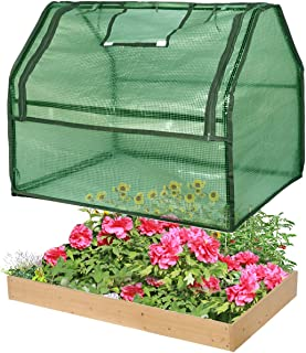 Sponsored Ad - SGHB Solid Wood Raised Garden Bed with Greenhouse Planters Box for Vegetables Flower Fruits Herb Outdoor (G...