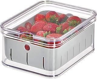 "iDesign Crisp BPA-Free Plastic Produce Storage Bin - 8.32"" x 6.32"" x 3.76"", Clear/Gray"