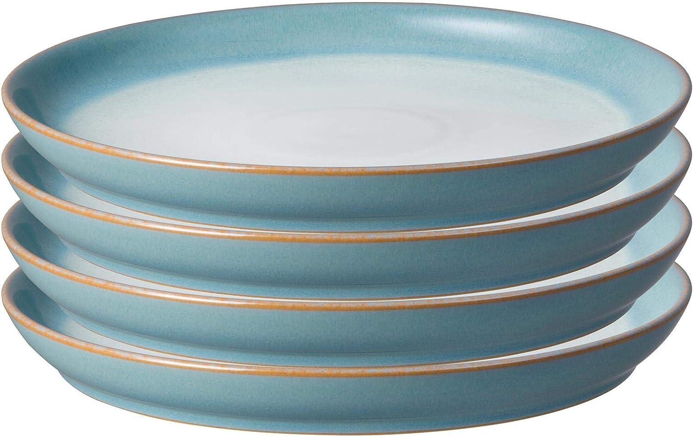 price Denby 123048925 Azure Haze 4 Plate Set Piece Sale Special Price Dinner Coupe