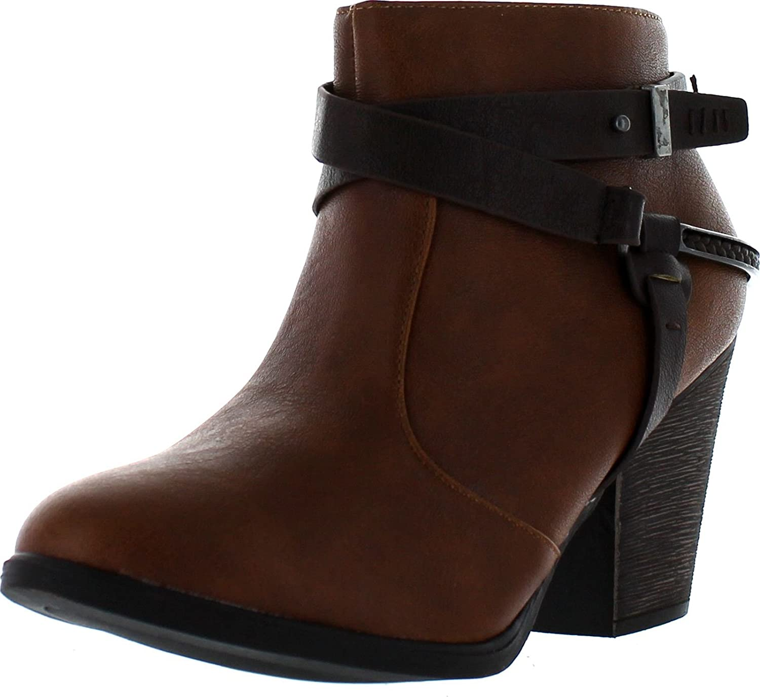 Dollhouse Womens Purpose Strappy Buckle Chunky Heel Fashion Bootie