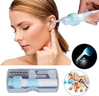 Ear Wax Removal,Automatic Ear Wax Removal Kit Ear Vacuum Cleaner Earwax Remover with LED Light Soft Silicone Easy Comfortable Cleaning for Adults and Kids