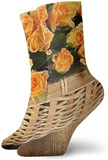tyui7, Calcetines de compresión antideslizantes de rosas amarillas Calcetines acogedores de 30 cm para hombres, mujeres, niños
