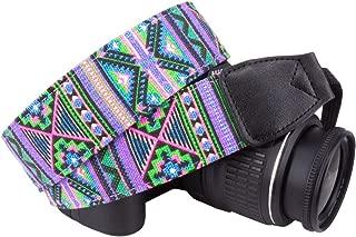 Wolven Pattern Stripe Canvas Camera Neck Shoulder Strap Belt Compatible for All DSLR/SLR/Men/Women etc (Purple Green Stripe)