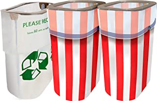 Party City Patriotic Red, White, and Blue Clean-Up Supplies, Include Reusable Pop-Up Trash Bins, Plus Recycling Bin