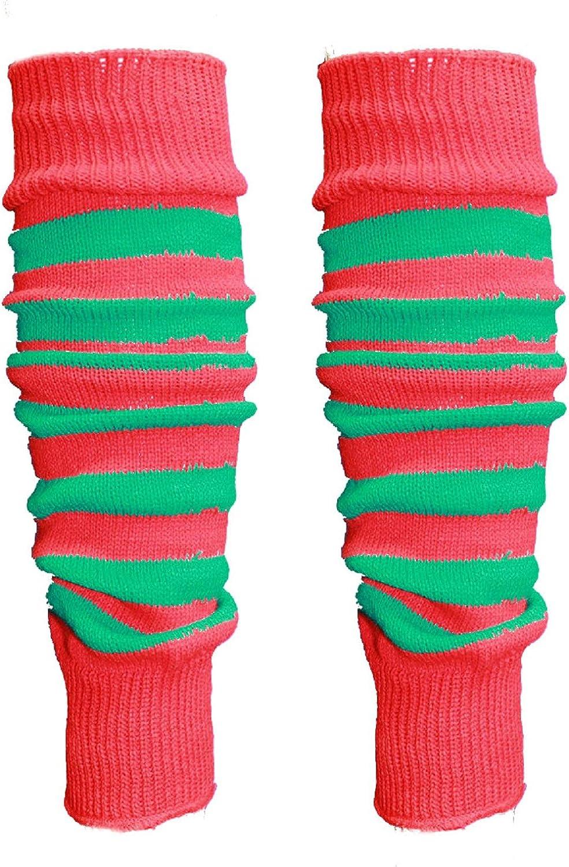 Prettymake Women Men 80s Eighty's Ribbed Knit Halloween Red Green Dance Sports Leg Warmers