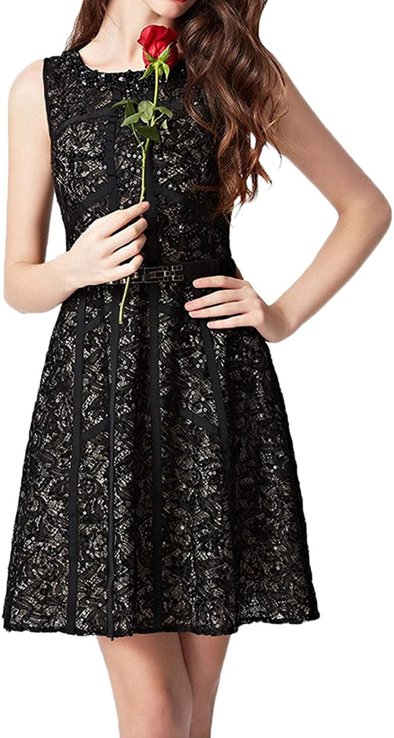 Avril Dress Elegant Cocktail Sleeveless Homecoming Lace Mini Gown With Belt