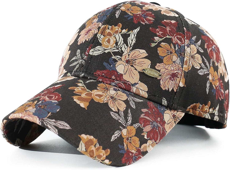 CACUSS Fashion Women's Baseball Cap Cotton Floral Hat with Adjustable Metal Buckle Golf Cap