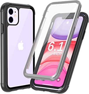 Justcool Designed for iPhone 11 Case, Clear Full Body Heavy Duty Protection with Built-in Screen Protector Shockproof Rugged Cover Designed for iPhone 11 6.1 inch 2019 (Black/Gray+Clear)