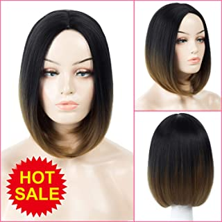 Short Bob Hair Wigs Ombre 1b/27 color Two Tone Ombre Heat Resistant Straight Syntheyic Hair Wigs Natural Straight None Lace Wig Beautiful Looking wigs 180gram/piece (1b/brown,1b/27)
