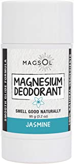 Jasmine Natural Deodorant with Magnesium - Aluminum Free, Baking Soda Free, Alcohol Free, Cruelty Free, Healthy, Safe, Non Toxic, All Natural, For Women, Men & Kids - 3.2 oz (Lasts over 4 months)