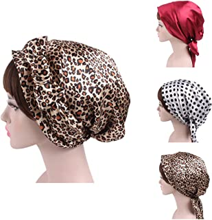 Little sheep 3 Pack Women Elastic Wide Band Head Scarf Cotton Turbans Print Bonnet Multifunction Night Sleep Hat Chemo Hair Loss Wrap Cap