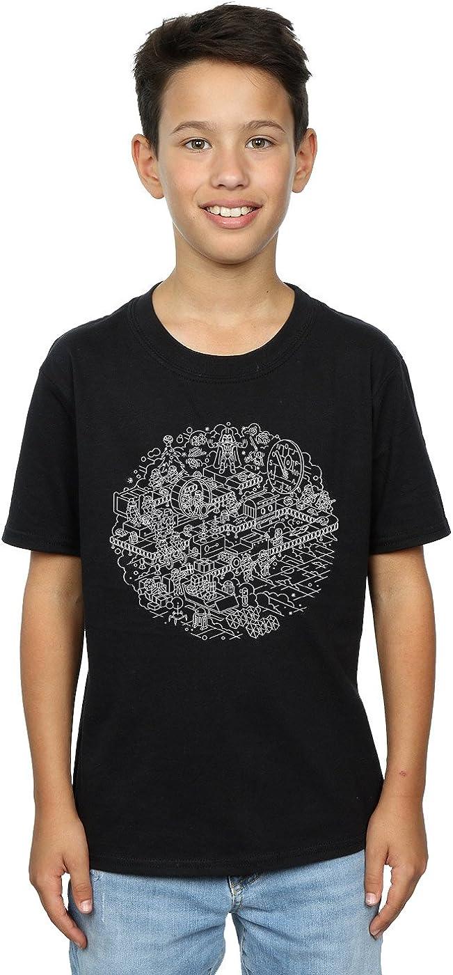 STAR WARS Boys Christmas Death Star T-Shirt 7-8 Years Black