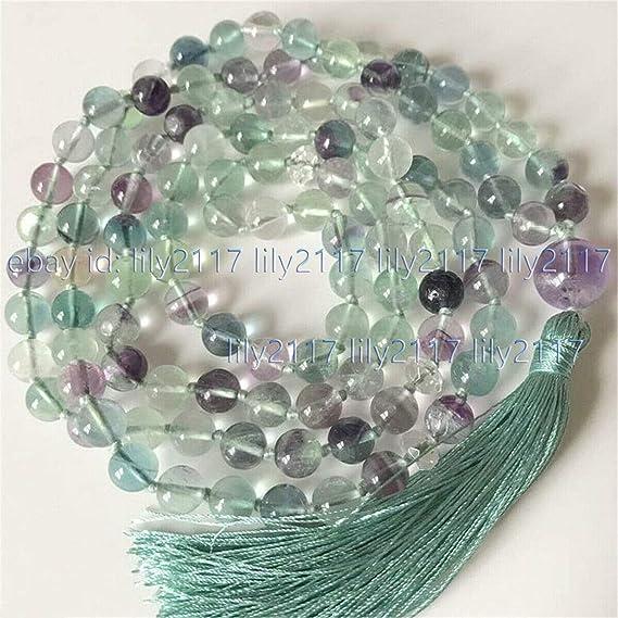 Beading 8mm Natural Rainbow Fluorite Gems Tibet Buddhist 108 Prayer Beads Mala Necklace