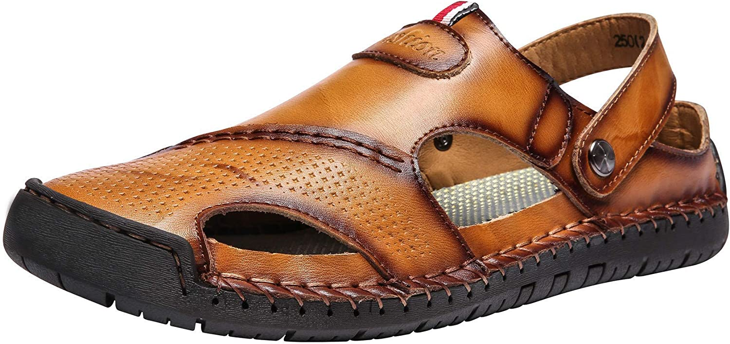 CANVEN Mens Leather Sandals Slippers Stitching Outdoor Animer and price revision Su Nashville-Davidson Mall Hand