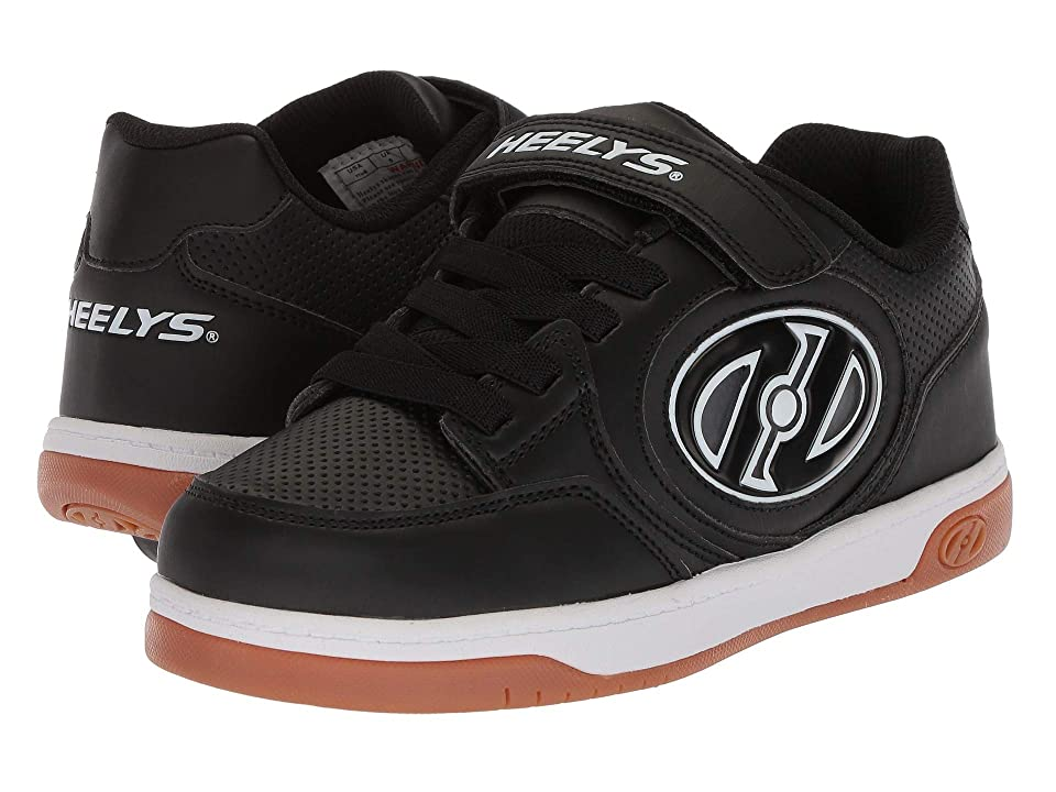 Heelys Plus X2 Lighted (Little Kid/Big Kid) (Black/White/Gum) Boys Shoes