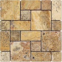Scabos Travertine 3-Pieced Mini-Pattern Tumbled Mosaic Tile - Box of 5 sq. ft.