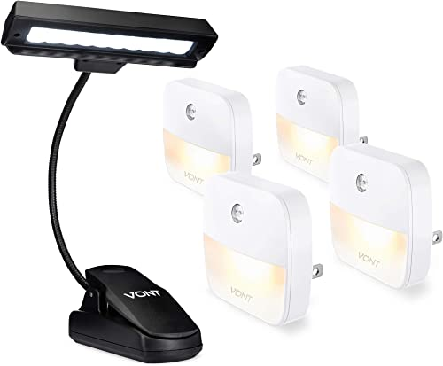 discount Vont Night Lights outlet sale 4-Pack + 10-LED Clip Light popular - Night Lighting Must-Have for Every Home - Smart, Efficient, Safe Dusk-to-Dawn Light Combo for All Work and Activities You Need to Do Indoors at Night outlet sale
