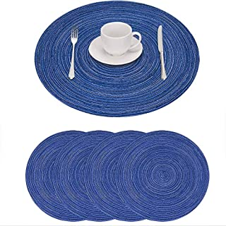 GIVERARE Placemats Set of 4, Round Heat-Resistant Woven Vinyl Placemat, 15 inch Non-Slip Washable PVC Table Mat, Easy to C...