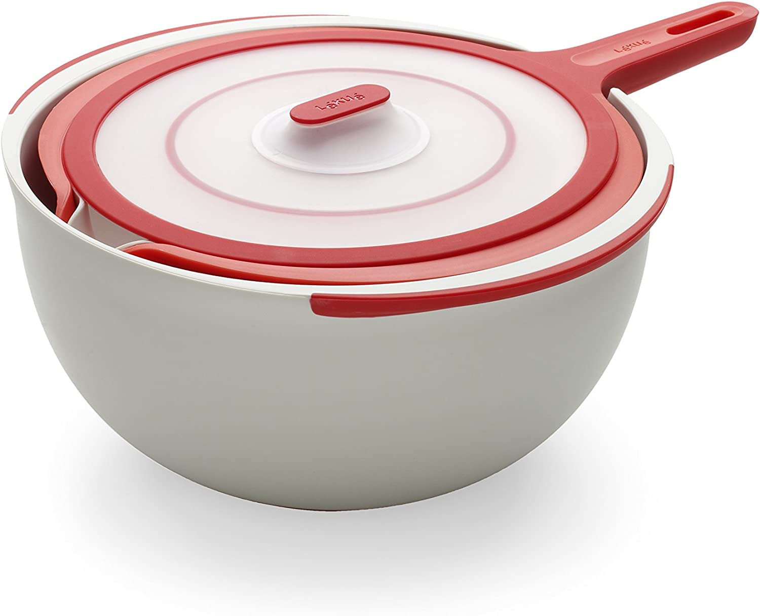 Lekue 3 Piece Mixing Bowl, Red